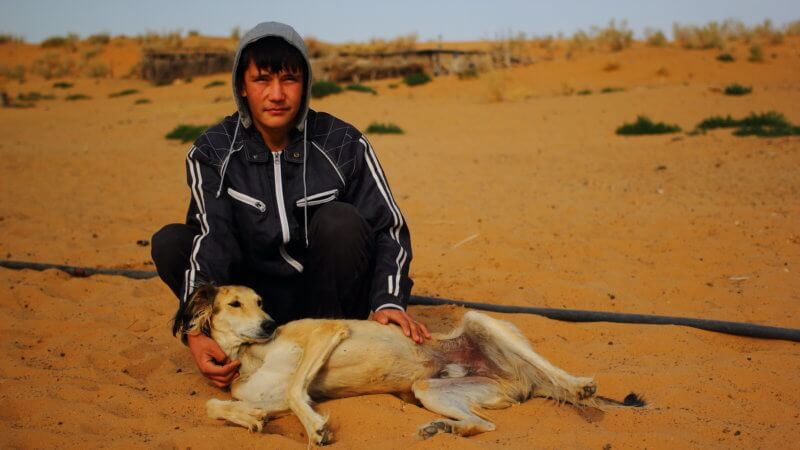 A boy wearing a hooded jacket poses with a white saluki dog in the desert.