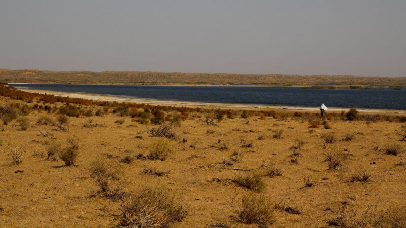 A wide shot of a lone runner running through sand near Aydar Lake.