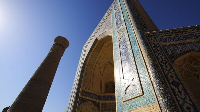A wide angle shot looking up to the top of Kalan Minaret in Bukhara.