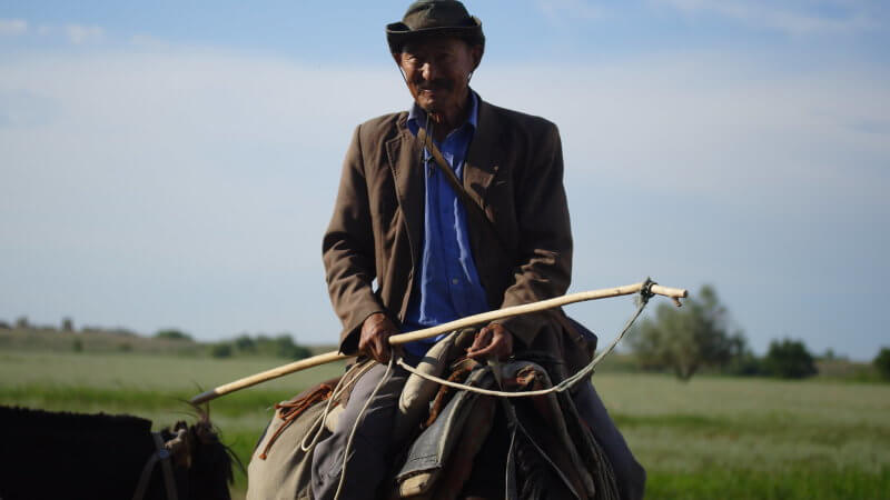 Older horse riding man holding whip on wooden stick in East Kazakhstan region.
