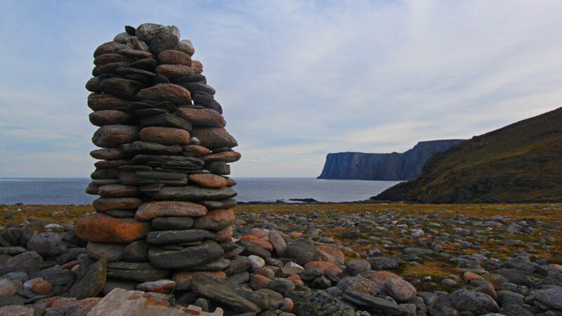 A stone cairn on a beach, near Nordkapp, the most northerly point in mainland Europe.