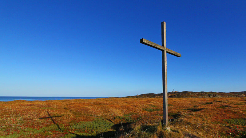 A single cross casts a shadow over the Arctic tundra in Grense Jakobselv near Russia's border.