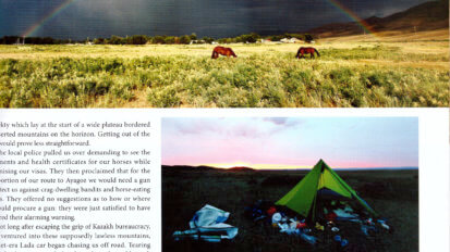 Tearsheet from Action Asia magazine article with text, photo of tent, and a rainbow beneath stormy skies on the steppe.