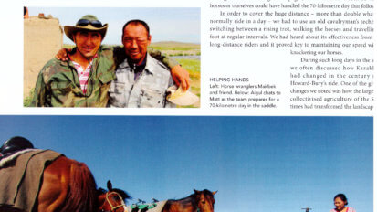 Action Asia article tearsheet with portrait of two Kazakh herders and horses stood beside a remote watering hole.