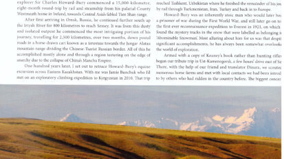 Action Asia tear sheet showing text, a map of Kazakhstan, and landscape photo of horses grazing in a field.