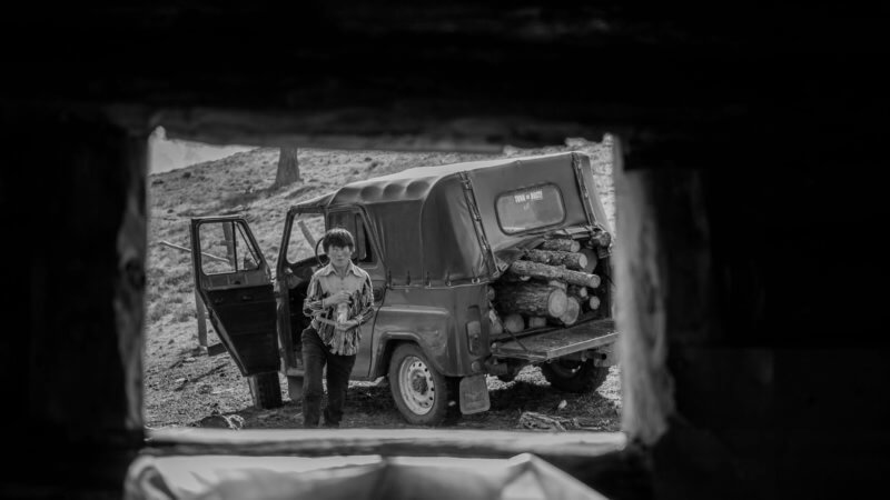 Black and white photo of a woman stood next to a jeep loaded up with logs in the trunk.