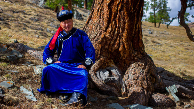 A Tuvan musician wearing a blue traditional outfit sat next to a pine tree.