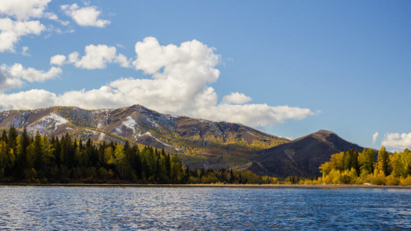 Landscape of Tuva from the Yenisei River on a sunny day.