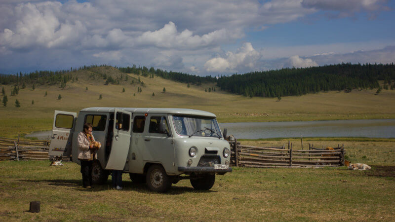 A UAZ Buhanka off-road vehicle in remote Tuva.