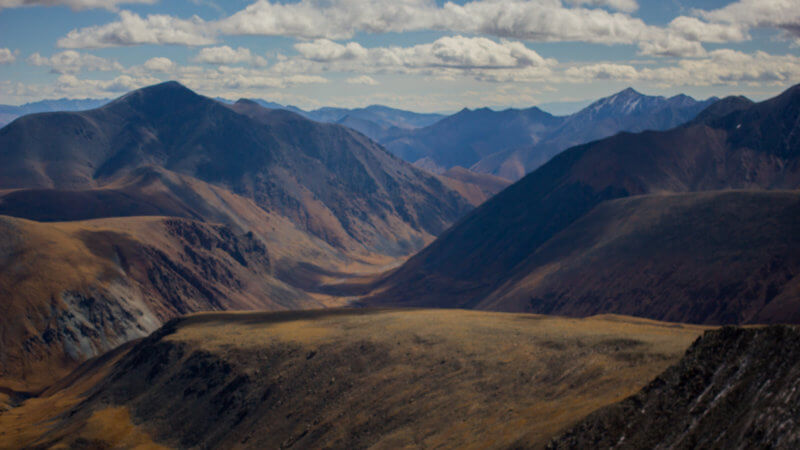 A look into a remote mountain valley leading to Mongolia.
