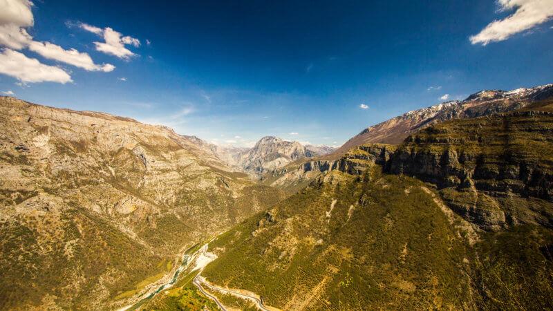 Wide limestone valley in Albania.