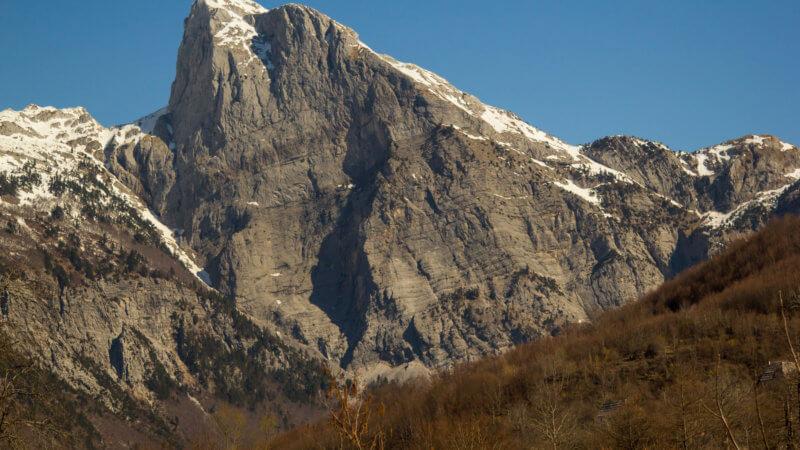Giant rock wall in Albania, near Montenegro.