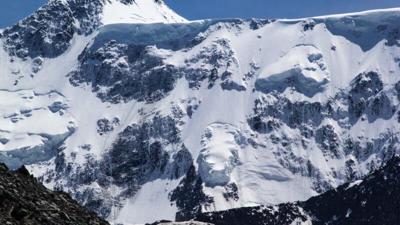 Close-up look at a steep and treacherous ice and snow-covered mountain.