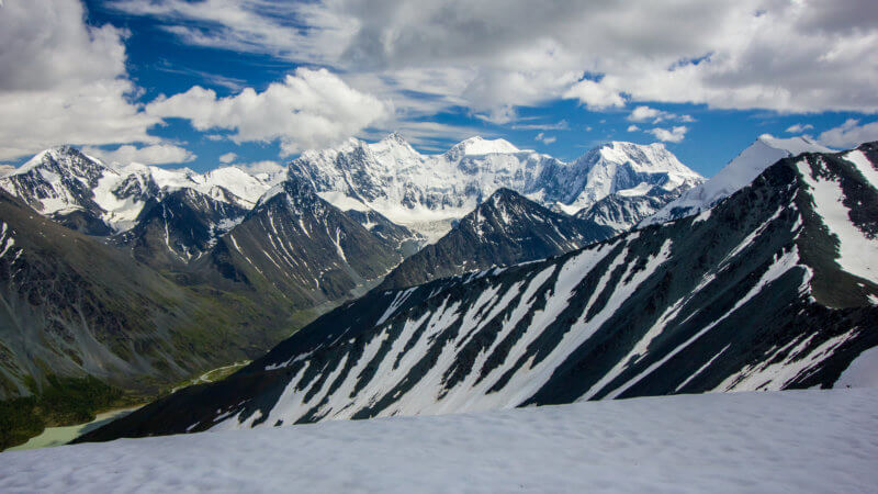 Wide view of Mount Belukha and its surrounding peaks.