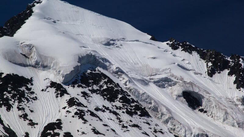 Close-up of a large serac-covered mountain face.