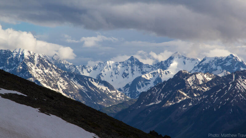 Wild-looking alpine peaks in the Altai Mountains.