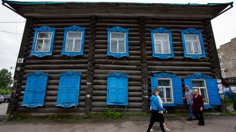 An old trading house made of horizontal logs in Yeniseysk.