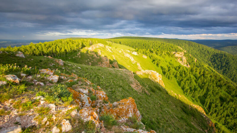 A green and forested flat mountain top with a little sunshine, near to Krasnoyarsk, Siberia.