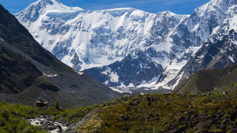 The snow-covered and steep alpine face of Mount Belukha.