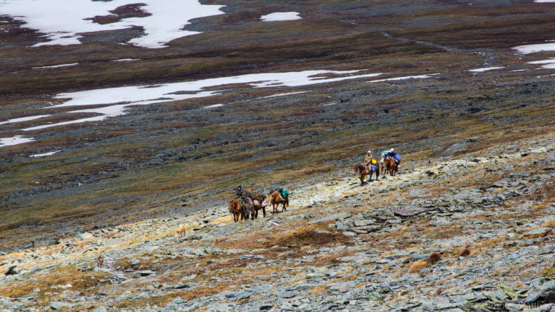 Two groups of horseback riders carrying equipment through rocky alpine terrain.