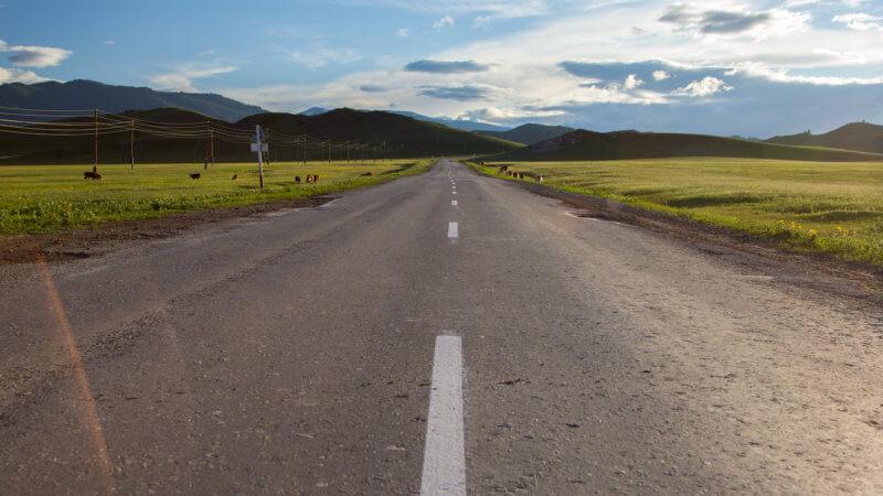 A straight asphalt road cuts through green Russian pastureland.