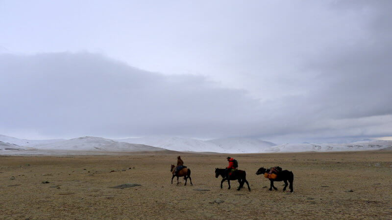 Three horses and riders ride across dry Mongolian steppe towards snowy mountains.