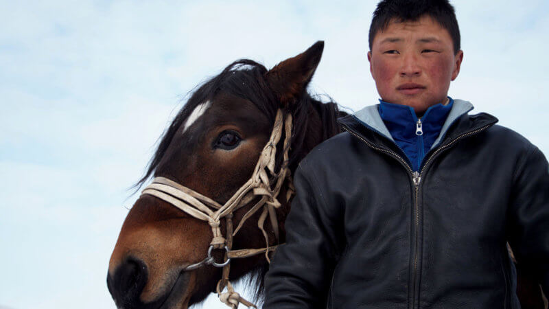 A teenage boy and his Mongolian horse with bridle look into the distance.