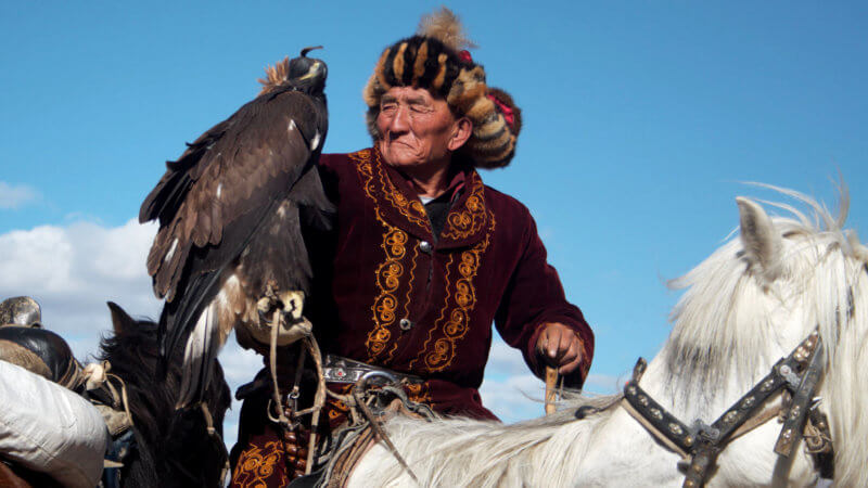Old Mongolian-Kazakh eagle hunting man sat on top of his beautiful white horse.