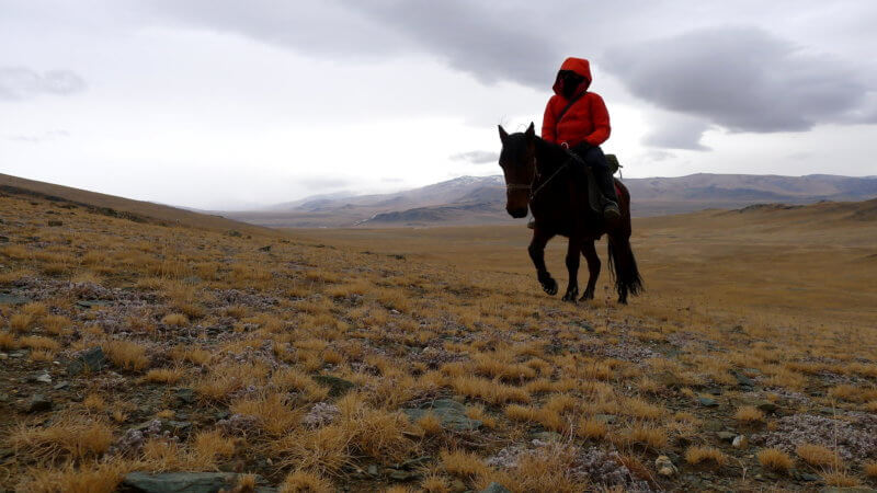 A lone rider and his horse ascending up a mountain.
