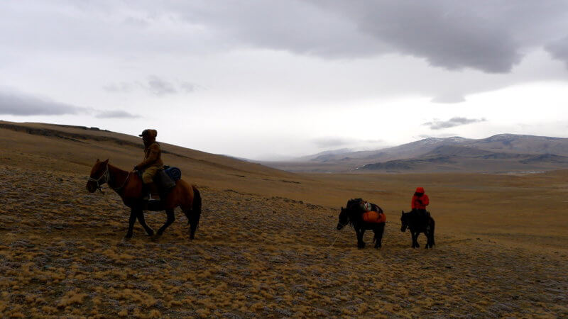 Three horse and two men ascend over a dry and cold Mongolian mountain pass.