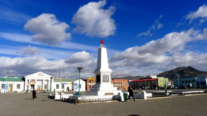 The downtown square of Olgii, western Mongolia.