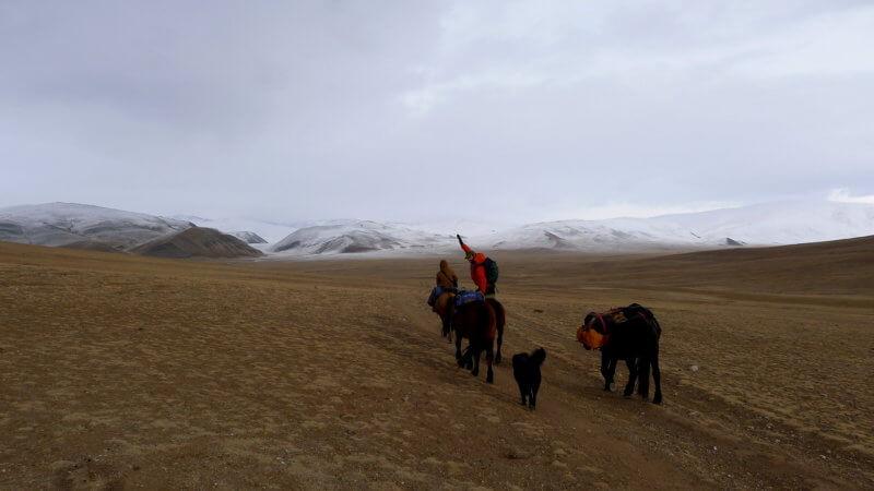 Jamie, Alpamys, a dog, and three horses riding towards remote snowy Mongolian mountains.