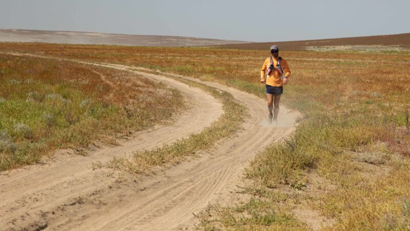 A hot and dusty day running through the Saryesik Atyrau Desert in Kazakhstan, south of Lake Balkhash.