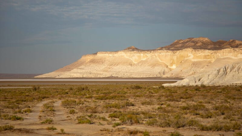 White cliffs of the Ustyurt sloping down in to a maroon coloured soil and white salt pan.