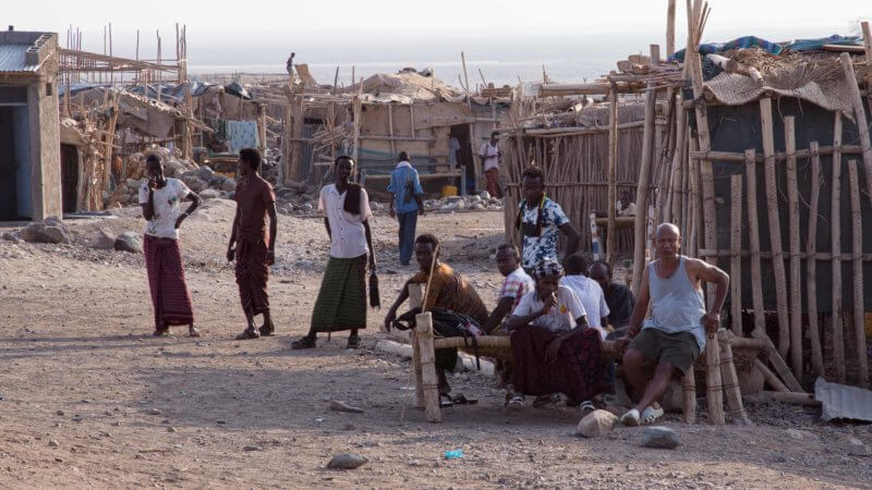 A group of Afar and Ethiopian guides in the small village of Dallol.