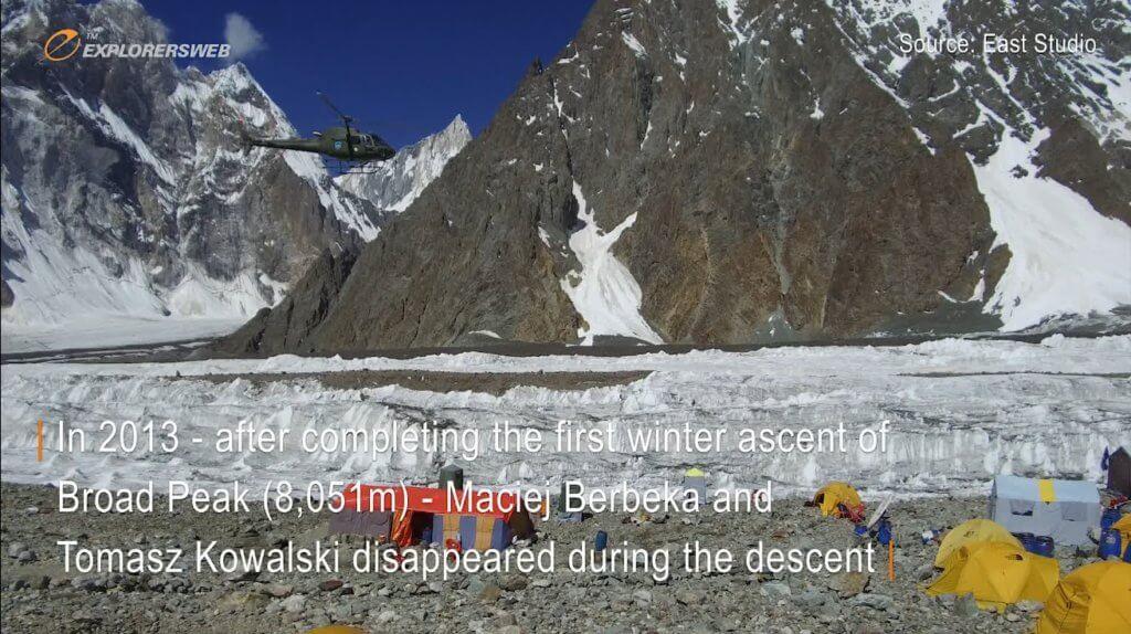 A Pakistani military helicopter flies past a glacier near Broad Peak, Pakistan.