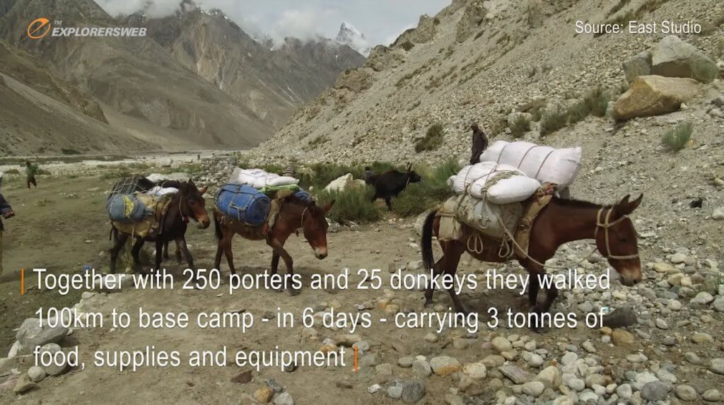 Screenshot from a Polish film showing multiple mules laden with climbing equipment and heading into Pakistan's Karakorum.