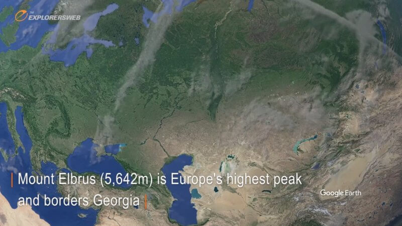 Google Earth satellite image showing the Eurasian Continent.