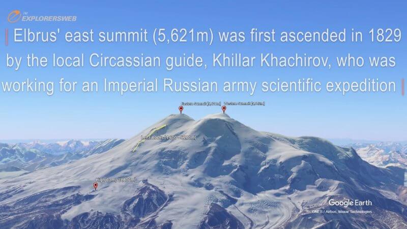 Google Earth 3D screenshot showing Mount Elbrus twin peaks.
