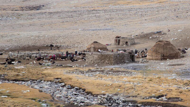 Traditional Wakhi nomad herder camp in the Afghan mountains.