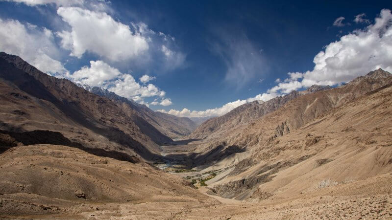 A very wide Wakhan Corridor photo with blue skies, big puffy clouds and a river running down the valley.