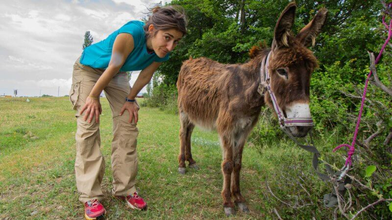 A woman crouches down next to a donkey tied to a tree.