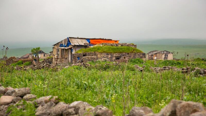 A collection of abandoned farmhouses sit in remote and verdant plains near the Turkish-Georgian border.