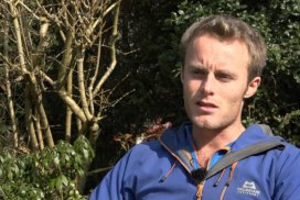 Screenshot of an interview with James Moneypenny, a British alpinist and climber.