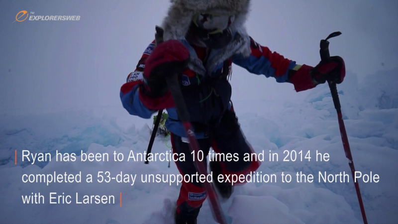 Screenshot of Ryan Waters wearing cold weather clothing and towing a sled through broken-up North Pole pack ice.