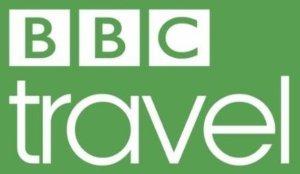 BBC Travel logo white and green version.