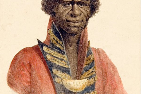 A 19th-century illustrated portrait of aboriginal explorer-guide Bungaree. Painted by Augustus Earle.