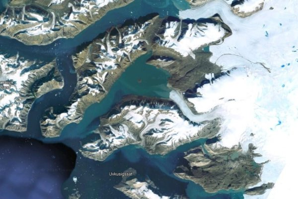The Uummannaq Fiord on Greenland's west coast. It's here that the Twin Galaxies river system drains off of the ice sheet to the east. Satellite Image by Google.
